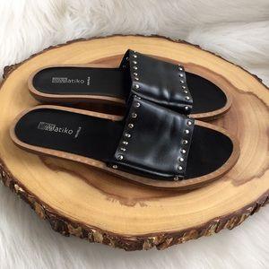 Anthropologie Matiko leather slide sandals